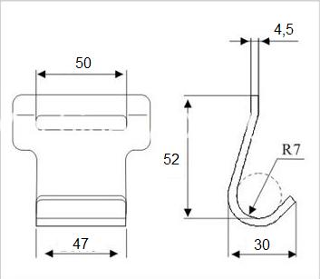 Эскиз пластинчатого крюка
